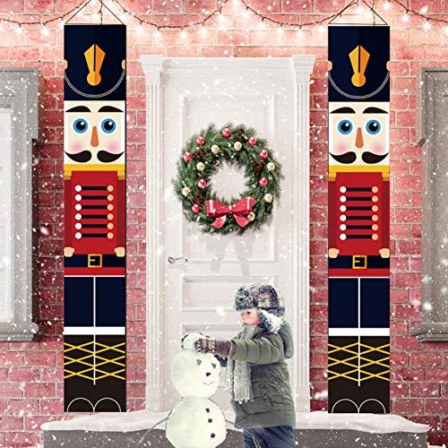 WISREMT Nussknacker-Weihnachtsdekoration Außenbereich, Lebensgröße, Soldaten-Modell, Banner Haustür, Veranda, Garten, Innen Außenbereich, Tor 32x180cm