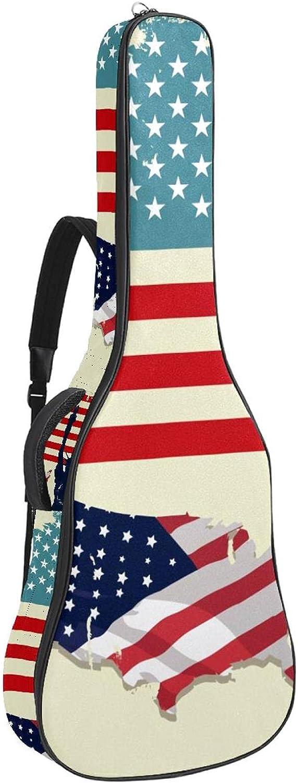 Funda para Guitarra Eléctrica Bandera de estados unidos retro Bolsa Guitarra Acolchada 6mm Tela Oxford impermeable para Guitarra Acústica y Clásica 40 41 pollici