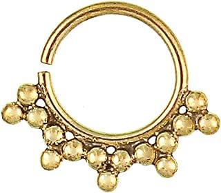 Anello per il naso con pallini e triangoli, in ottone dorato anticato, stile Tribale, senza nichel