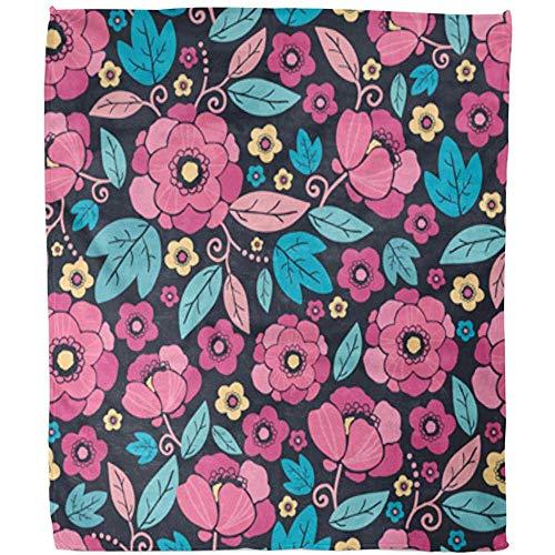 Duang Fleece Deken Roze Aziatische Nacht Kimono Bloesem Blauw Zwart China Abstract Asia Hotel Woonkamer Deken Fuzzy Fleece Deken Zachte Gooi Deken Warm Bed Sofa Office 102X127Cm