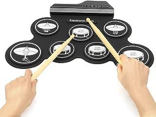Set de batería electrónica, Roll Up Practice Pad Midi Drum Kit con jack de auriculares Built-in Speaker Drum Pedals Drum Sticks 10 horas de juego, gran regalo de cumpleaños de vacaciones para niños