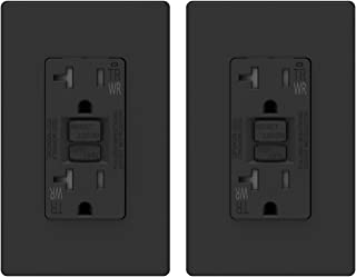 ELEGRP 20 Amp GFCI Outlet, 5-20R GFI Dual Receptacle, TR Tamper Resistant and WR Weather Resistant, Self-Test Ground Fault Circuit Interrupters, Wall Plate Included, UL Listed (2 Pack, Black)