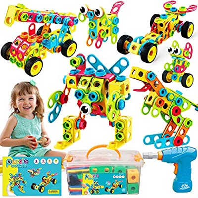Nxone Stem Toys 195 Piece, Educational Toys, Stem Toys for 5 Year Old, Stem Activities for Kids 3 4 5 6+, Toy Building Sets with Storage Box & Electric Drill, Educational Building Sets for Boys&Girls