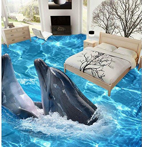 Weaeo Foto Stock Wallpaper Stereoskopischen 3D-Unterwasserwelt Dolphin Pvc Wasserdicht Home Decoration-280 X 200 Cm