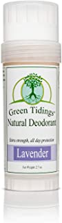 Green Tidings Natural Deodorant - Lavender 2.7oz -*Extra Strength, All Day Protection* - Vegan - Cruelty-Free - Aluminum Free - Paraben Free - Non-Toxic - Organic - Gluten-free - Made in USA