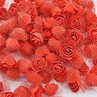 Satyam Kraft Foam Artificial Flower Roses (50 Piece, 3 cm) (Red)