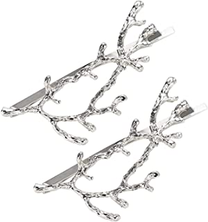 2pcs Antler Hair Pin Branch Hair Clip Barrette Hair Accessories for Women Girls Vintage,Silver
