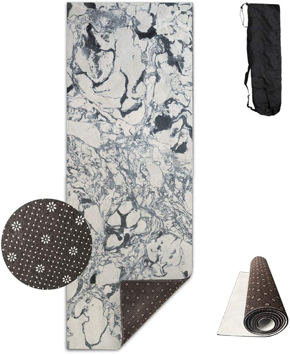 Black Marble Texture Yoga Mat  Advanced Yoga Mat  NonSlip Lining  Easy to Clean  LatexFree  Lightweight and Durable  Long 180 Width 61cm