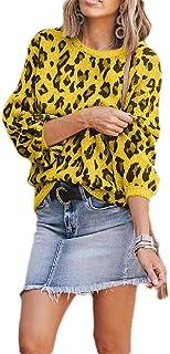 WAWAYA Hombres Loose Fit Leopard Print Long Sleeve Casual Pullover Sweaters de Punto