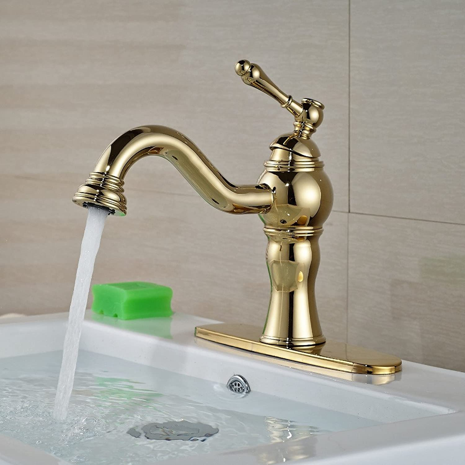 Maifeini The Luxurious gold Brass Faucets Click Deck Install Bathroom Basin Mixer Single Shank Hole Mixer Tap Template