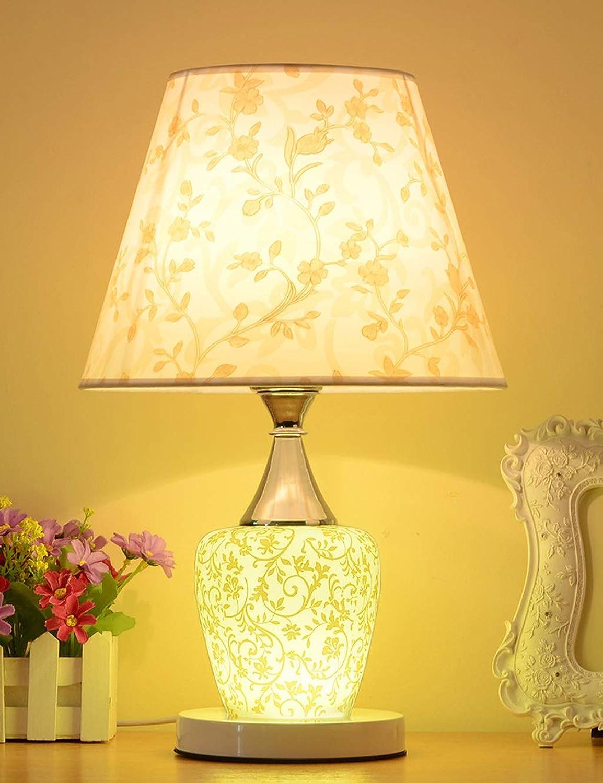 Moderne Schlafzimmer-Nachttischlampe, dekorierte Hochzeitszimmer-Lampen, Knopf-Keramikstoff-Tischlampe