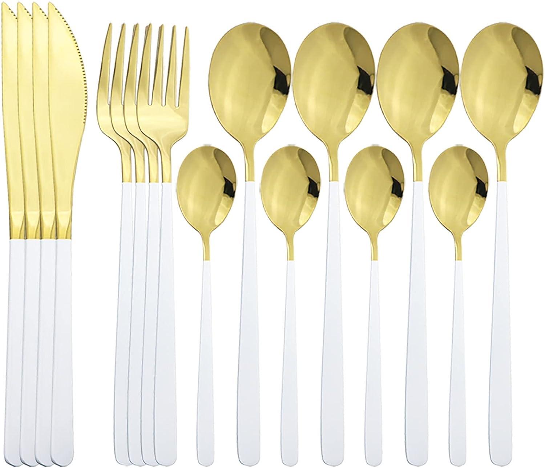 Cocina Occidental 16pcs conjunto de cubiertos de oro blanco 304 Juego de vajillas de acero inoxidable Conjunto de cuchillo Cuchara de cuchara Set de flotware Home Cocina Vajilla Conjunto cuberteria ju
