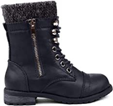 JJF Shoes Mango-31 Kids Round Toe Military Lace Up Knit Ankle Cuff Low Heel Combat Boots