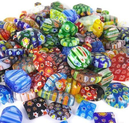 Drhob 100 Gram, Over 100pcs 6mm~25mm Mix Shapes & Colors Millefiori Lampwork Glass Beads, Round, Square, Oval, Tube, Heart.