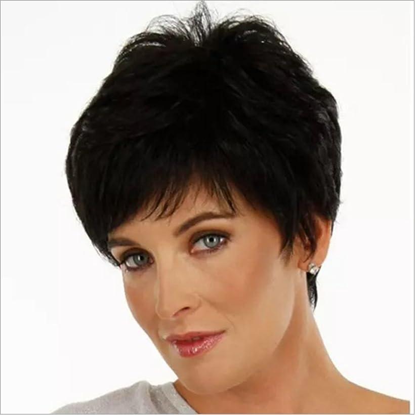 申し立てられたログ不定女性のための魅力的な女性の毛のかつらフラットバンズウィッグのショートストレートウィッグパーティーのための短いストレートウィッグ、コスプレ120gを見て自然な (Color : ホワイト)