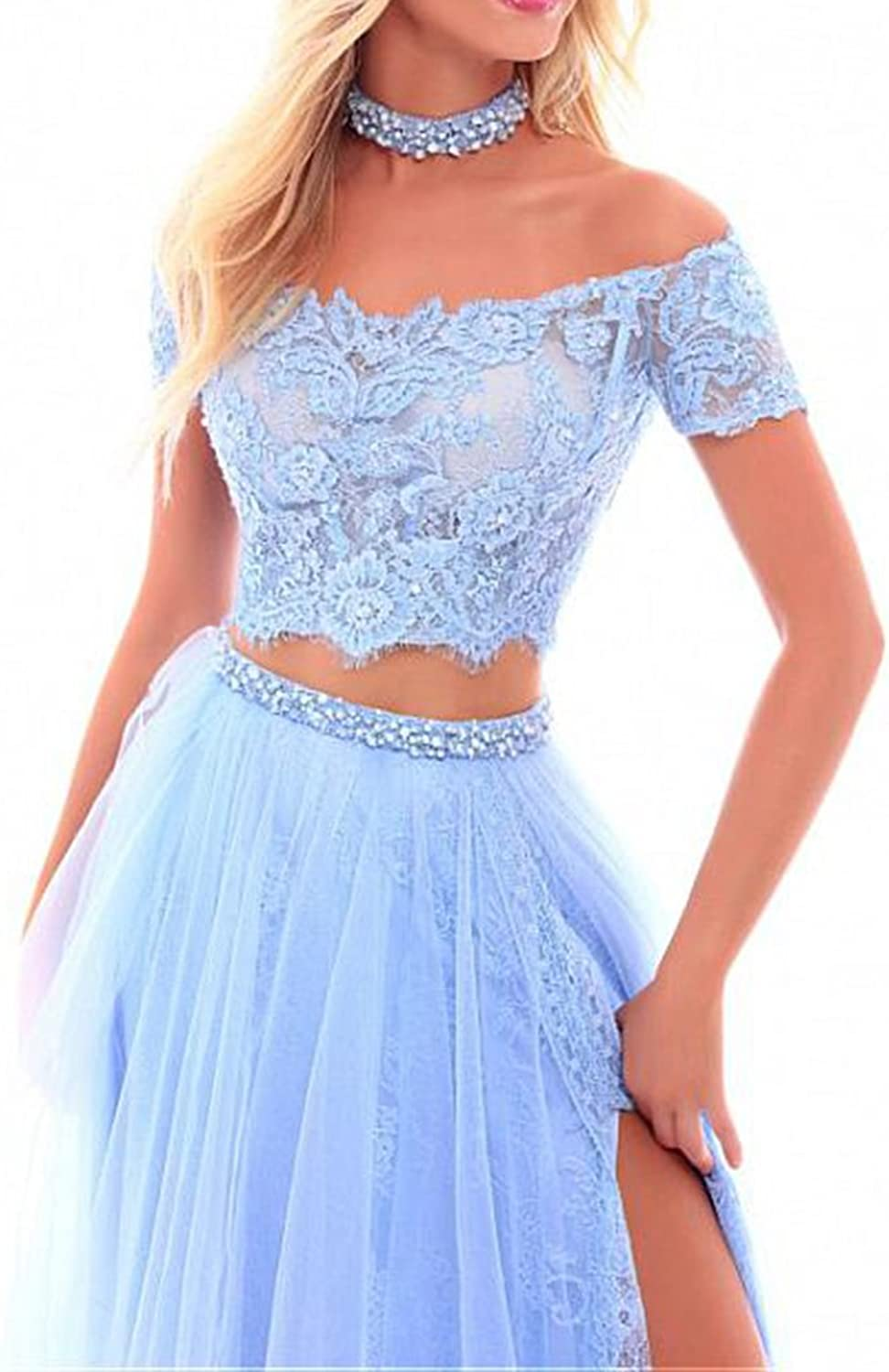 Chenghouse 2 Piece Prom Dresses 2018 Off The Shoulder Lace Prom Dress