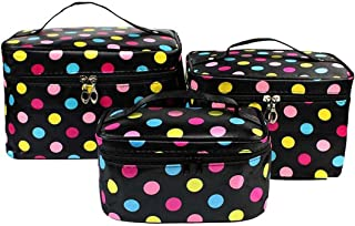 HOYOFO 3Pcs Makeup Bags for Women Polka Dot Travel Cosmetics and Toiletry Storage Bag with Brush Holders (3 Sizes/Set: S, M, L), Colored Dot