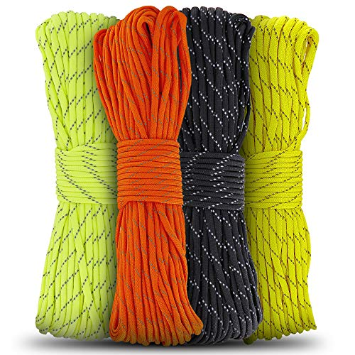 Pildex Reflective Braided Rope 100 Ft High Visible Multi Utility Cord Lightweight and Firm with Excellent Knot Retention | Good for Camping Biking Boating Hunting and Crafting Random Color