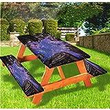 LEWIS FRANKLIN Cortina de ducha Night Sky Deluxe Fundas de mesa de picnic, República Checa al aire libre con borde elástico ajustable, 28 x 72 pulgadas, juego de 3 piezas para mesa plegable