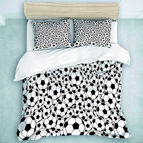 Bettbezug-Set, monochromes Design-Muster Klassische Fu?b?lle Kinder Jungen Cartoon-Muster, Bettbezug-Bettw?scheset 3-teilig