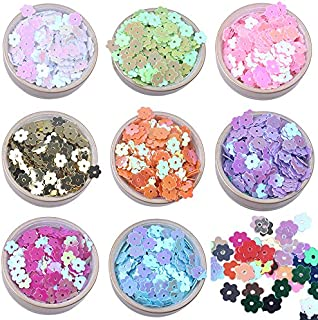 6mm Colorful Iridescent Gold Pink Purple White Yellow Green Flower Flat Loose Sequins Paillettes … (mixed-10200pcs)