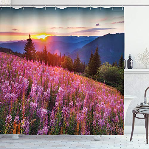 ABAKUHAUS Landschaft Duschvorhang, Frühlings-Berge mit Blumen, Moderner Digitaldruck mit 12 Haken auf Stoff Wasser & Bakterie Resistent, 175 x 180 cm, Pink Blue
