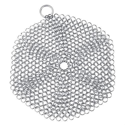 Limpiador de hierro fundido de acero inoxidable, depurador de cota de malla para limpiar sartén de hierro fundido Sartén sartén pre-sazonada Utensilios de cocina(round style)