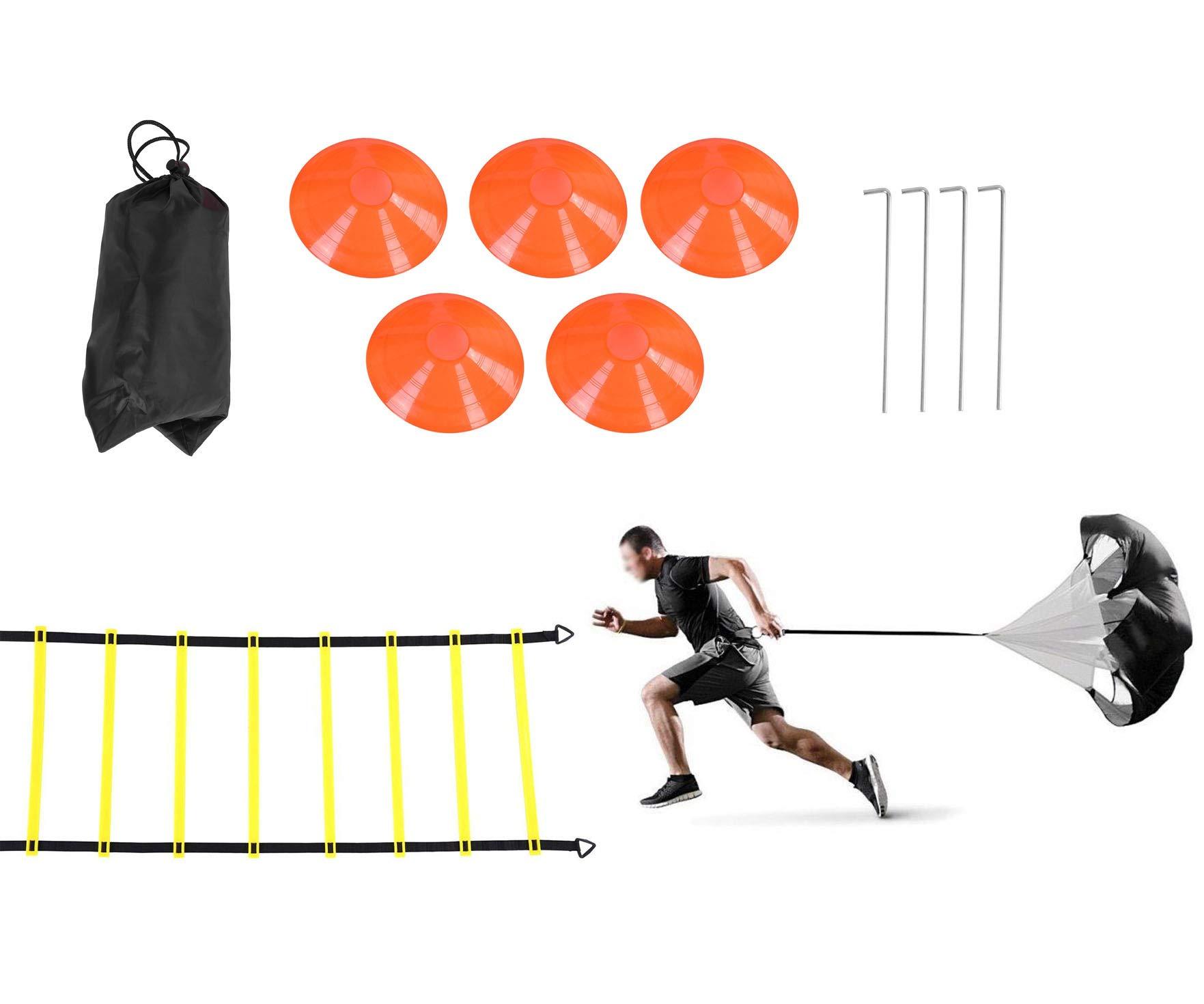 Rehomy Conjunto de Entrenamiento de Velocidad y Agilidad, Incluye 1 paracaídas de Resistencia y Escalera de Agilidad de 6m, 4 estacas de Acero, 5 Conos de Disco Ayuda para Entrenamiento de fútbol: