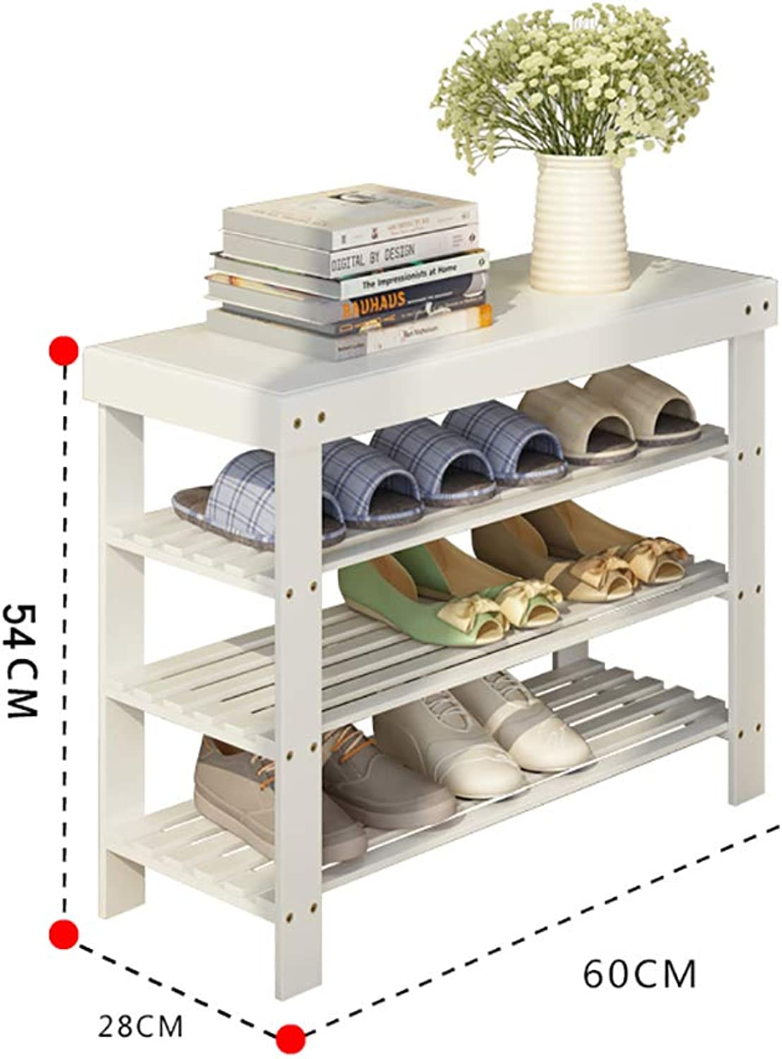 Entrance shoes Rack shoesbox Change shoes Bench Shelf Storage Shelf Multifunction Household Dorm Room Space Saving Doorway Living Room Bamboo (Size   70  28  54cm)