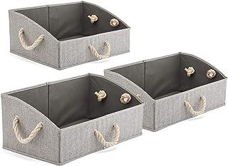 EZOWare 3 pcs Cajas de Almacenaje, Caja Abierta con Angulo de Tela Plegable Resistente con Manijas para Estanterías, Armarios, Ropa, Camisetas, Juguetes, y mas - (Gris)