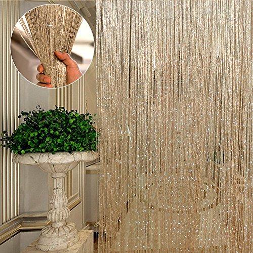 LoveStory 2 Pz Tenda Fili Pannelli Divisori Decorativi Tenda Striscioni Scintillante Effetto Cascata Frange per Finestre Porte Mobili Interni (Champagne)