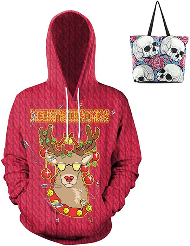 Pullover Hooded Christmas 3D Print Leisure Sweat Shirt Shopping Bag