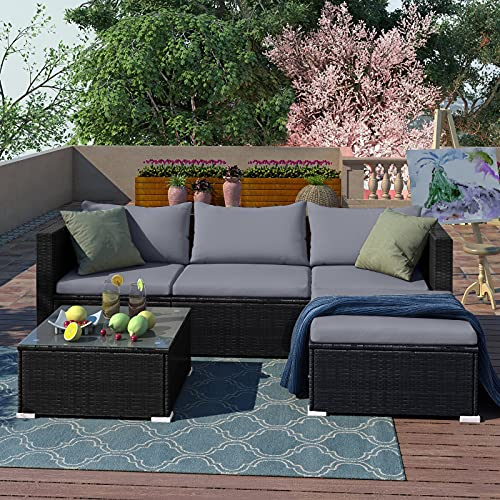 5pcs Rattan Garden Outdoor Furniture Patio Sofa Set with Glass Coffee Table Outdoor Cushions for Garden or Conservatory Rupert (Black)