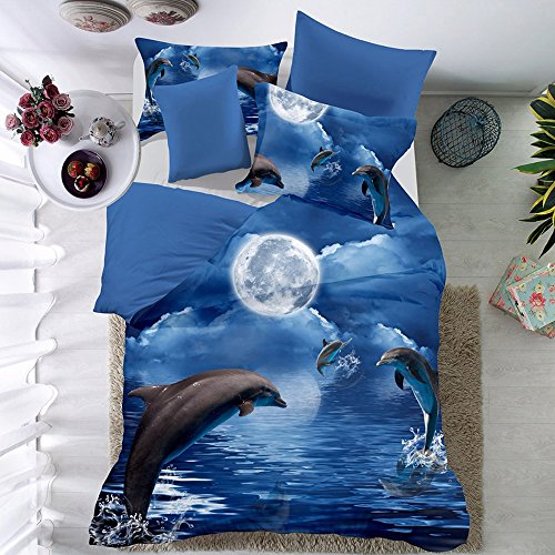 THEE 3D Animal Dolphin Quilt Cover Bedding Duvet Cover Set with Pillow Case(Twin)