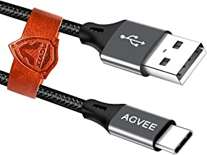 Agvee 3A Heavy Duty USB-C Charger Cable [3 Pack 1ft 4ft 6.8ft] Seamless USBC End Tip, Braided Type-C Fast Phone Charger Data Wire Cord for Moto [X4,Z,Z2,Z3,Z4], Asus Zen AIO, ZTE ZPad, Black Gray