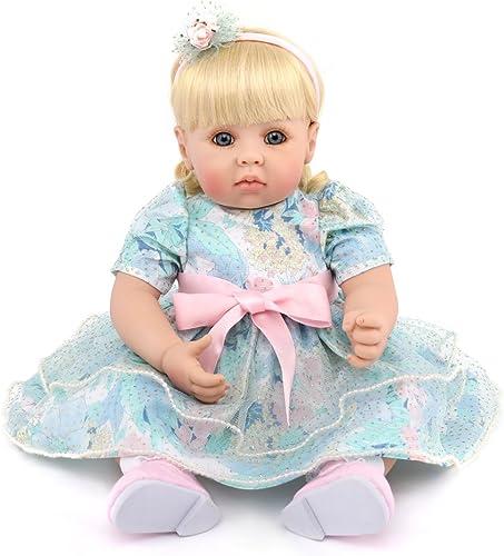 YIHANGG Reborn Baby Puppen Handgemachte Lebensechte Realistische Silikon Vinyl Weiße Simulation 20 Zoll 50cm   Augen  nen Blaue Prinzessin Kleid mädchen Lieblings Geschenk