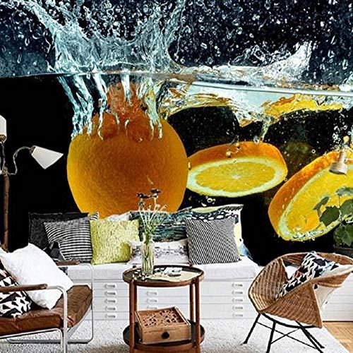 Papel De Parede 3D Laranja De Parede Personalizada Frutas Para Derramamento Spray De Água Criativo Papel De Parede De Fotos Limpo Papel De Parede Da Sala De Tv Fundos Do Sofá,400(W)*280(H)Cm