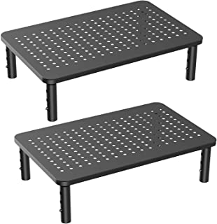 Monitor Stand Riser - 3 Height Adjustable Monitor Stand for Laptop, Computer, iMac, PC, Printer, Desktop Ergonomic Metal Monitor Riser Stand with Mesh Platform for Airflow by HUANUO (2 Pack)