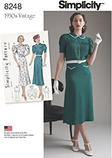 Simplicity 8248 1930's Vintage Dress Sewing Pattern, Sizes 4-12