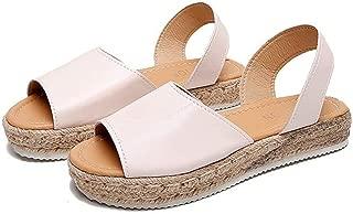 YYW Womens Flat Sandals Espadrille Platform Sandal Open Toe Ankle Wrap Summer Flats