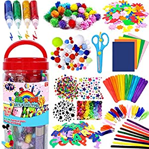 ALL IN ONE COMBO: Everything you need for kindergarten homeschool supplies is all in 1 Arts & crafts supplies jar so you could create art to your heart's content ENDLESS CREATIVITY: Stoke your Imagination and develop your creative skills with all the...