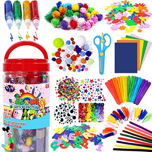 FunzBo Arts and Crafts Supplies for Kids  Craft Art Supply Kit for Toddlers Age 4 5 6 7 8 9  All in One DIY Crafting School Kindergarten Homeschool Supplies Arts Set Christmas Crafts for Kids