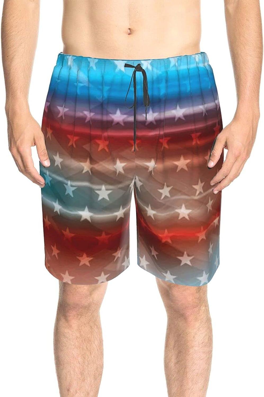 JINJUELS Mens Bathing Suits American Flag Galaxy Star Swim Boardshorts Drawstring Elastic Athletic Swimwear Shorts