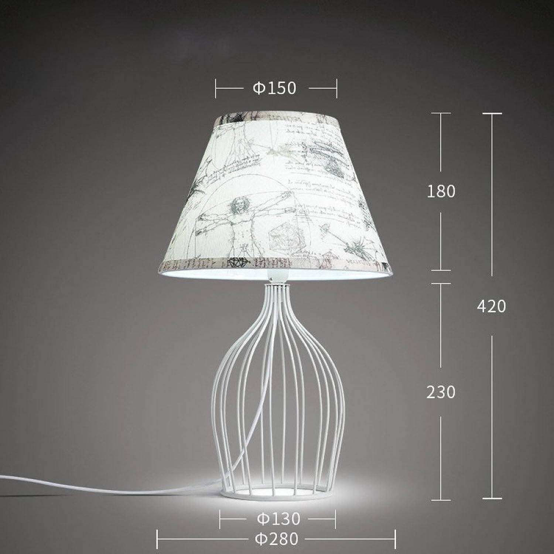 Unbekannt Nordische Amerikanische Eisen Schlafzimmer Lampe Modernen Minimalistischen Kreative Hohlen Handbemalten Tuch Garten Warmen Nachttischlampe,Wei,28  42