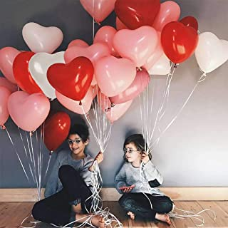 Heart Shape Latex Balloons for Valentines Day,Propose Marriage,Wedding Party(White+Red +pink)3 Style,12 Inch