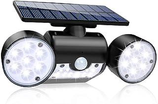 Solar Lights Outdoor, 30 LED Solar Security Lights with Motion Sensor Dual Head Spotlights Floor Lamp IP65 Waterproof 360° Adjustable Solar Motion Lights Outdoor for Front Door Yard Garden Garage