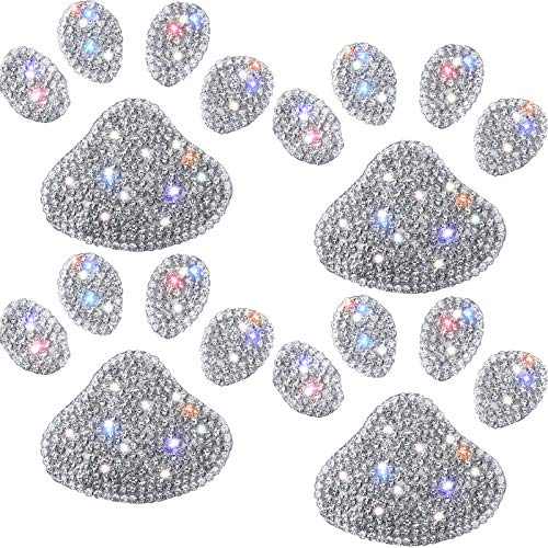 4 Pieces Crystal Car Decoration Stickers Bling Rhinestone Paw Decals White Crystal Car Stickers Bling Dog Paw Print Car Stickers for Car Bumper Window Laptops Decoration