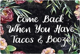 Belidome Floral Door Mat Home Decoration Doormat Indoor Outdoor Entrance, Come Back When You Have Tacos