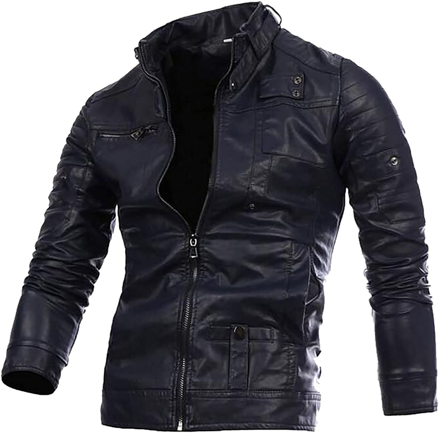 WAYA Mens Stand Collar Faux PU Leather Slim Fitted Boomber Jackets