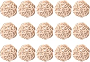EXCEART 15pcs Wicker Rattan Ball Decorative Orbs Vase Fillers Christmas Tree Ball Ornaments Hanging Decorations (Khaki 5cm)